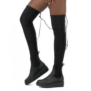 Jeffrey Campbell over the knee black boots 9